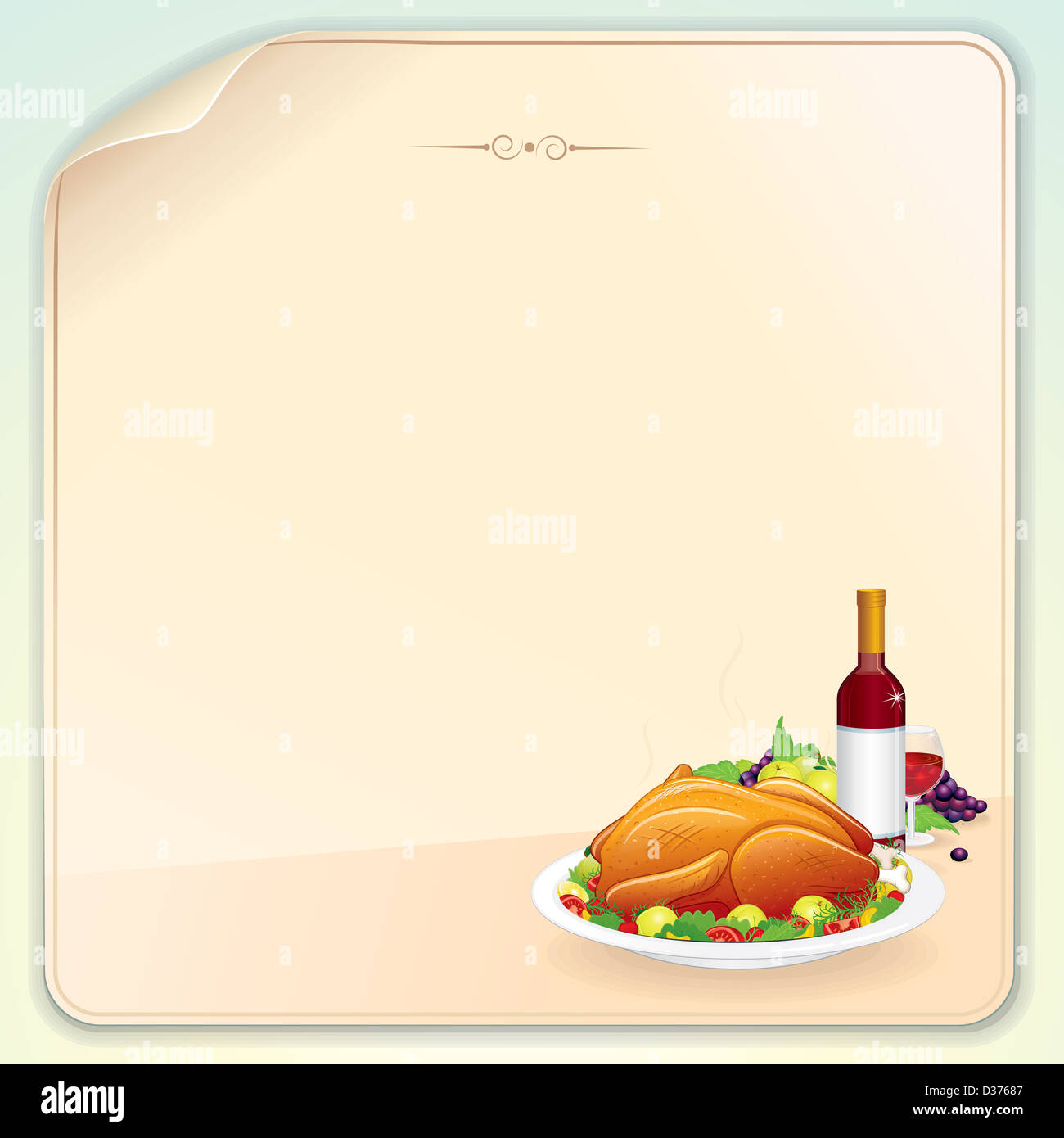 Thanksgiving Greeting Card With Roasted Turkey Fruits And Wine Blank Vector Template For Your Letter Poster Or Banner