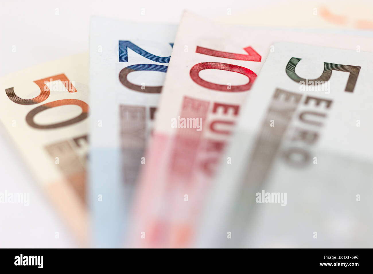 Euro bank notes values of 5, 10, 20 and 50 - Stock Image