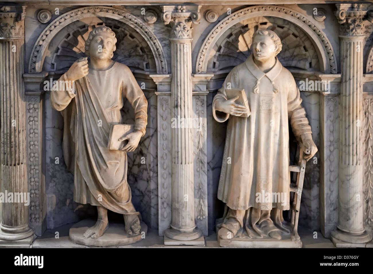 Sculptured Side panels of the Renaissance style Tomb of Valentine Visconti Cathedral Basilica of Saint Denis , Paris - Stock Image