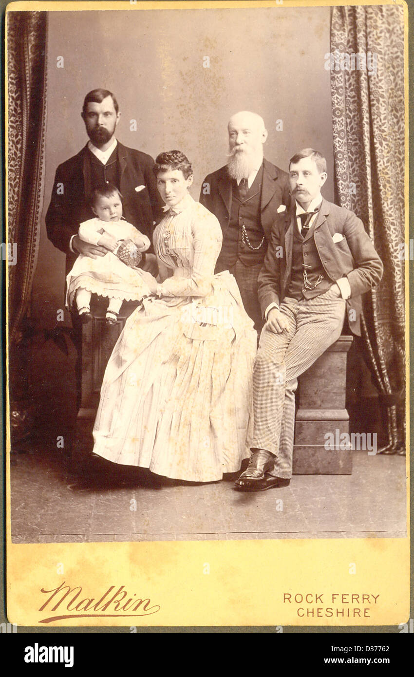 Victorian cabinet portrait photograph of three generations - Stock Image
