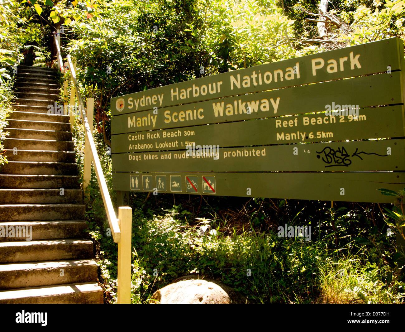 Steps on the Sydney Harbour National Park sign, Manly Scenic Walk Sydney Australia Stock Photo