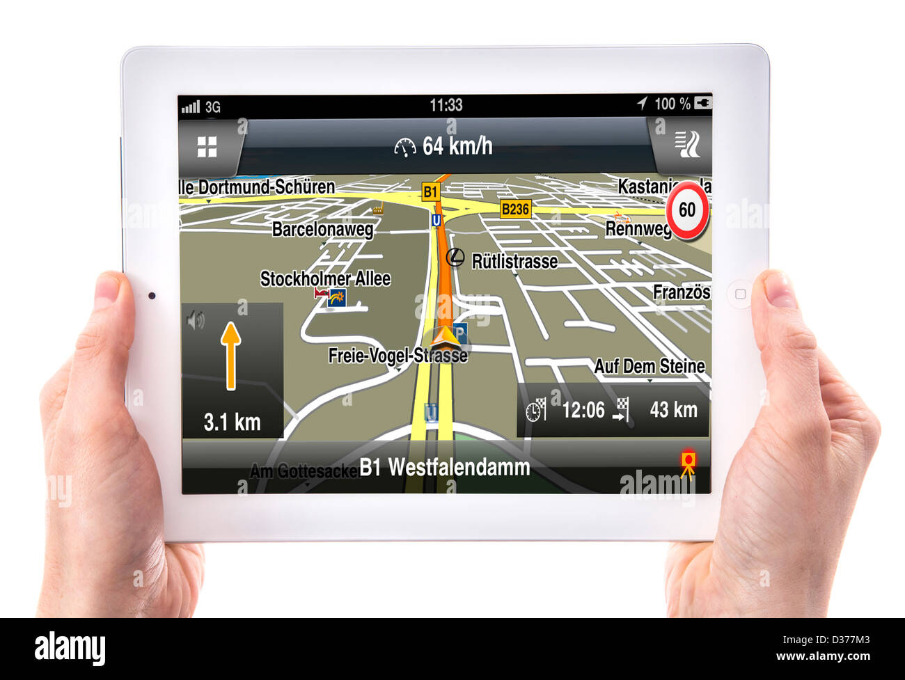 Person is using a tablet computer  Car navigation Stock