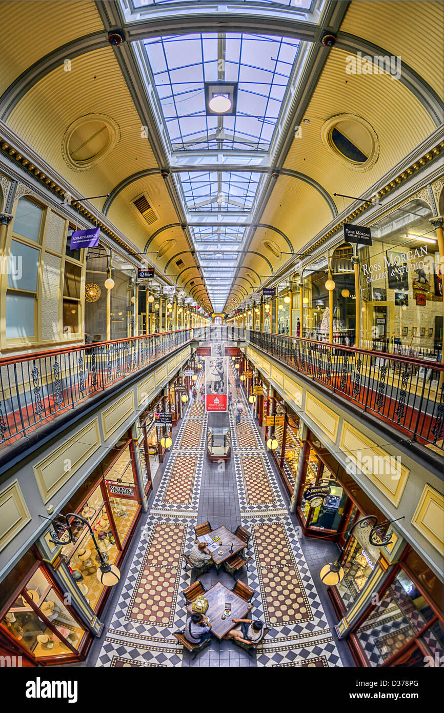 A fisheye view of the ornate Adelaide Arcade shopping mall in Australia - Stock Image