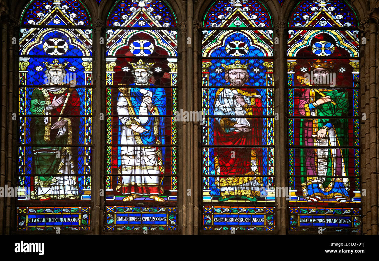 Medieval Gothic Stained Glass Window Showing The Kings Of France Cathedral Basilica Saint Denis Paris