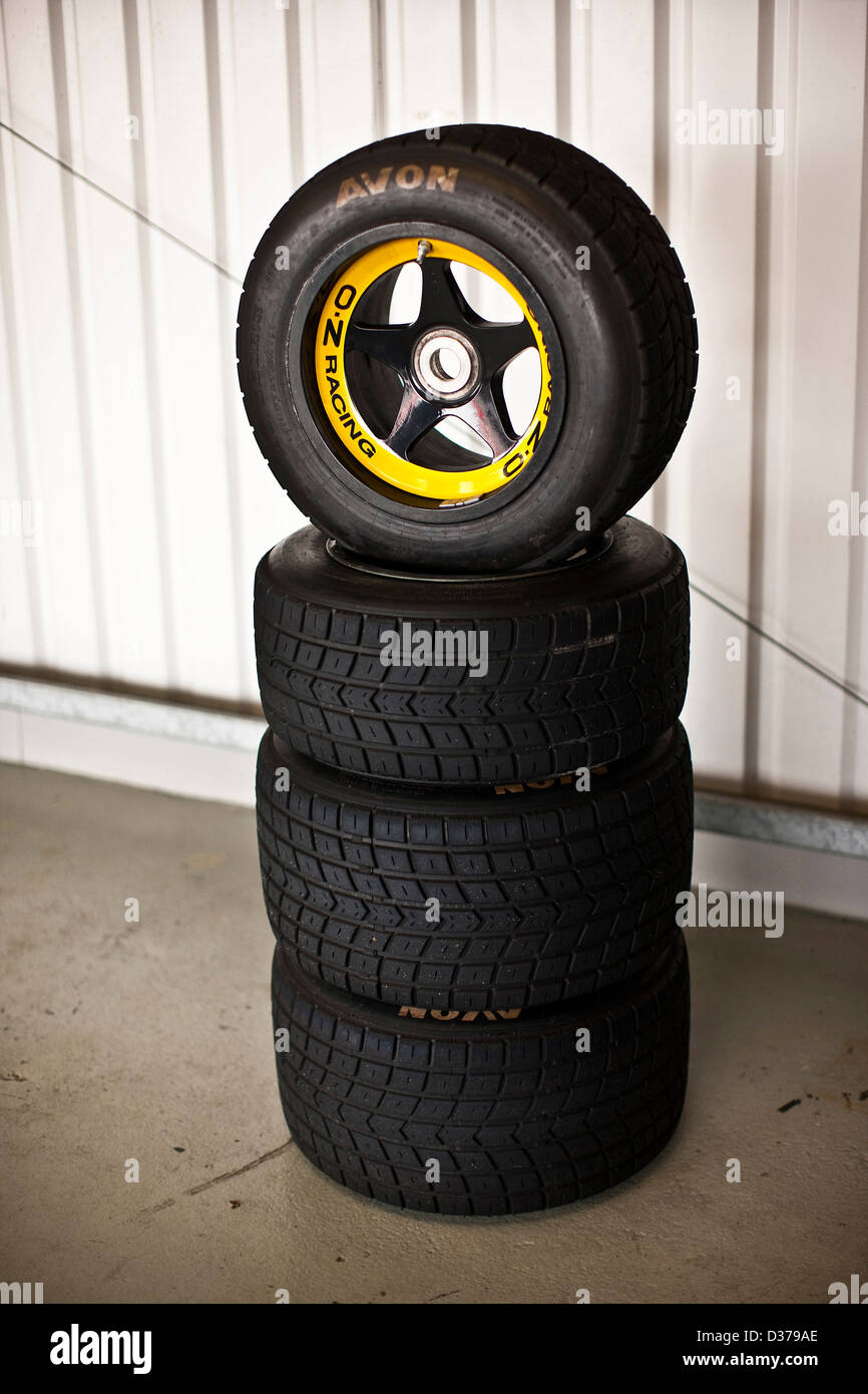 Formula One tyres stacked in Bedford autodrome, UK 12 04 10 - Stock Image