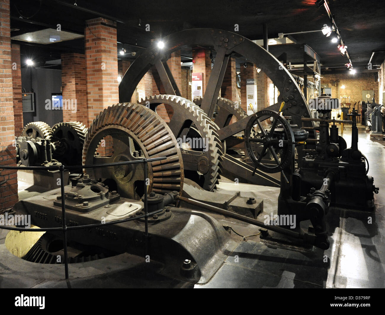 Transmission group of the rollin mill Falk, made in 1867 in the Ferriera Vobarnese. It was used till 1956. - Stock Image