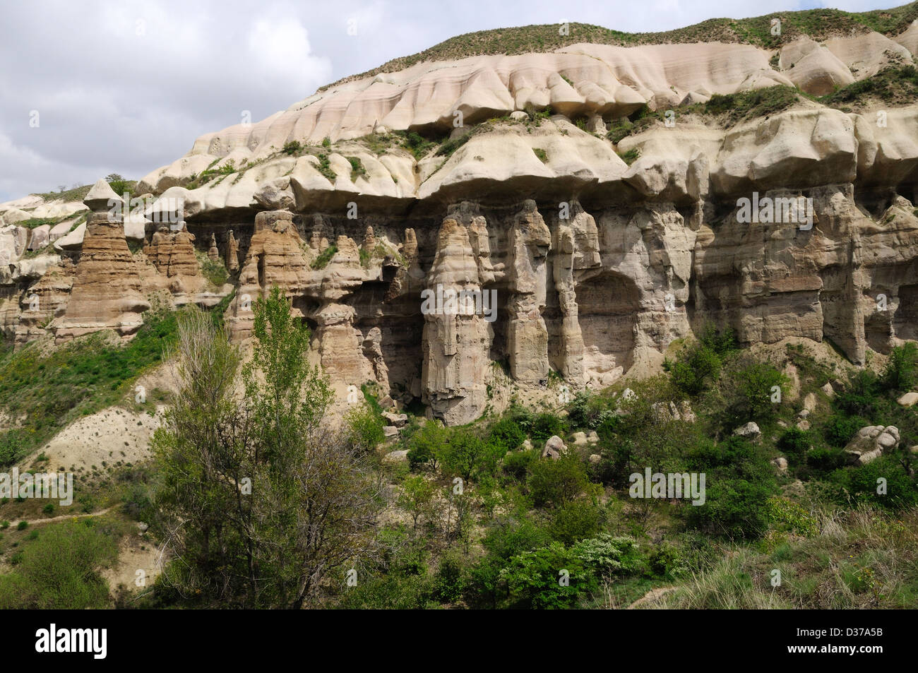 Rock formations folds and tuff hills Pigeon Valley between Uchisar and Goreme Cappadocia Turkey - Stock Image