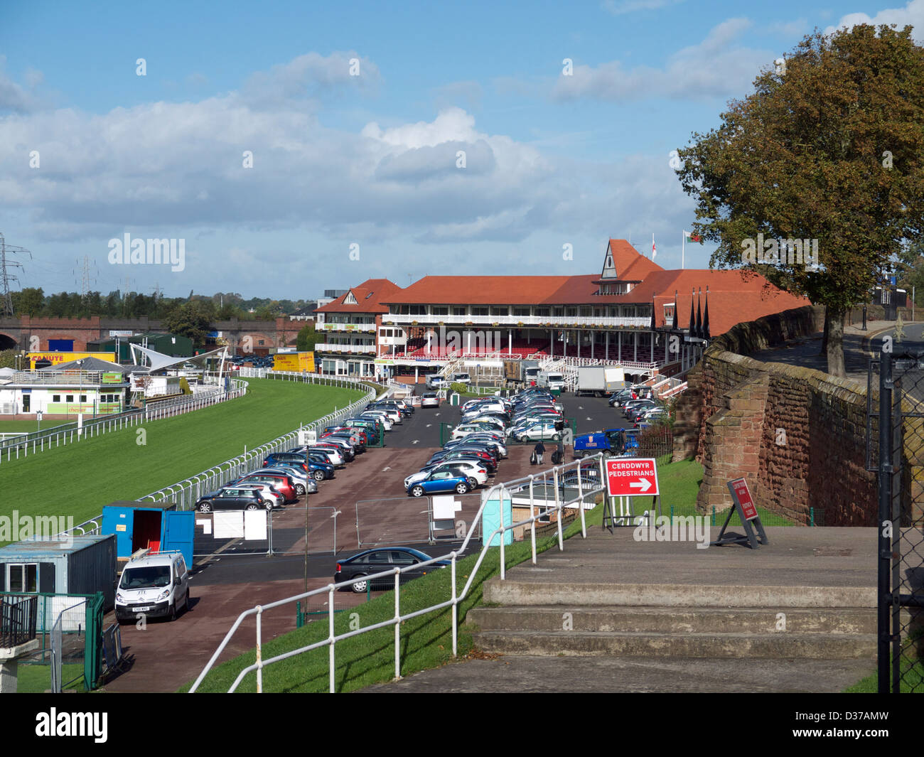 Chester Racecourse, known as the Roodee, is according to official records the oldest racecourse still in use in - Stock Image
