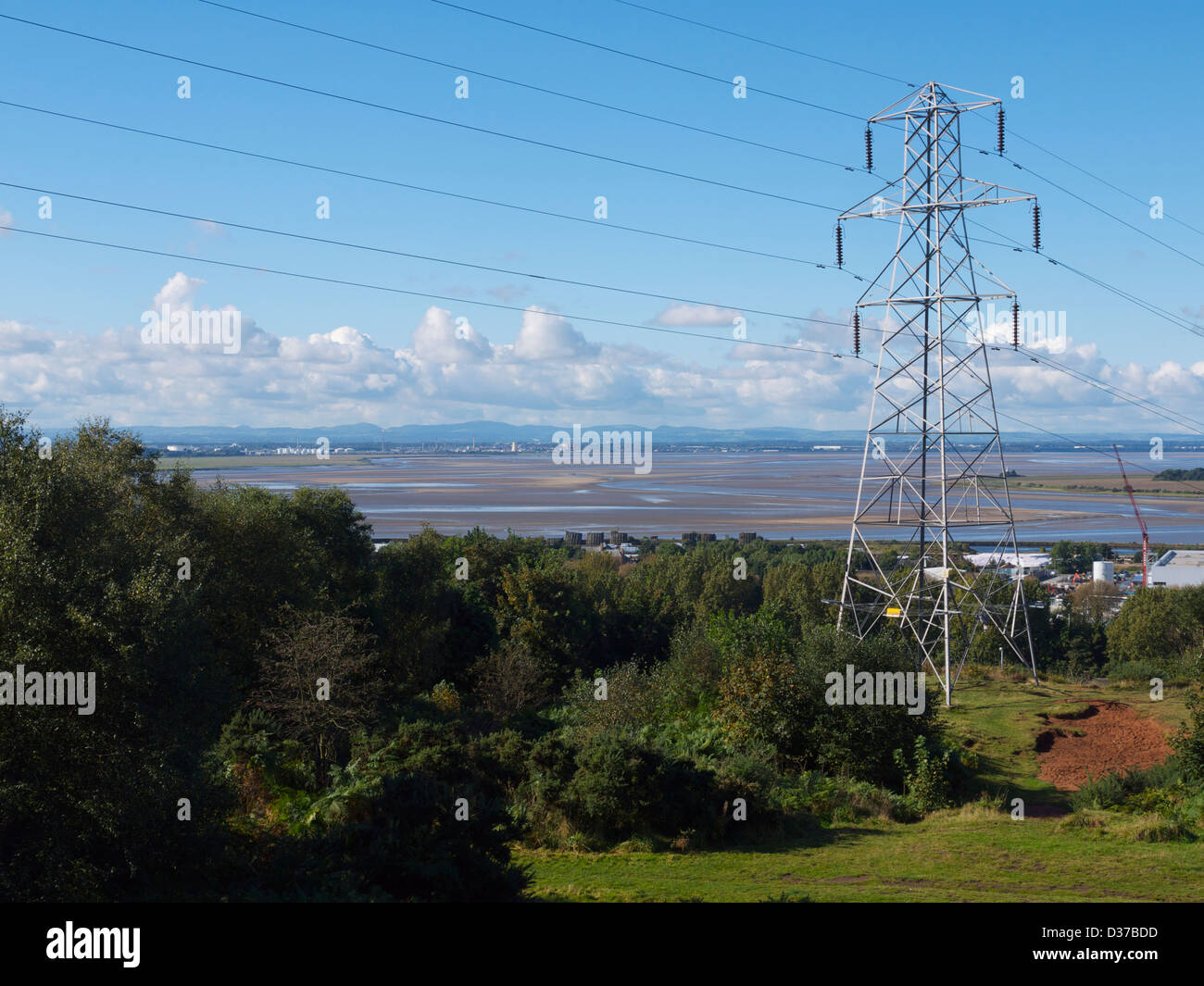 A electricity pylon and the river Mersey in the background with the tide out - Stock Image