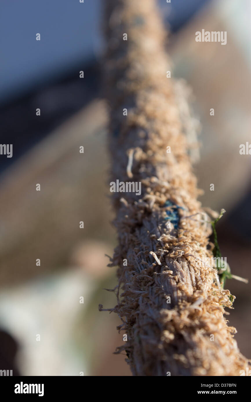 Worn rope / line part out of focus - Stock Image