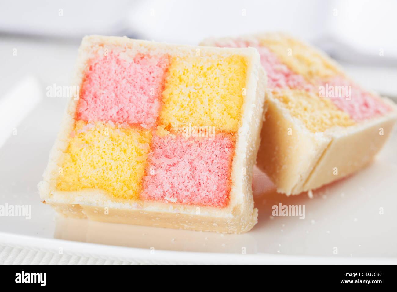 Battenburg cake for afternoon tea - Stock Image