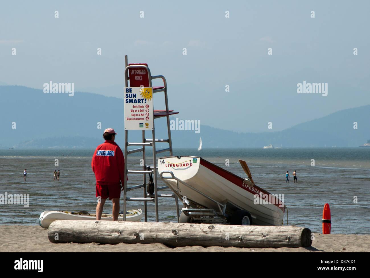Lifeguard on duty , life saving station at the beach - Stock Image