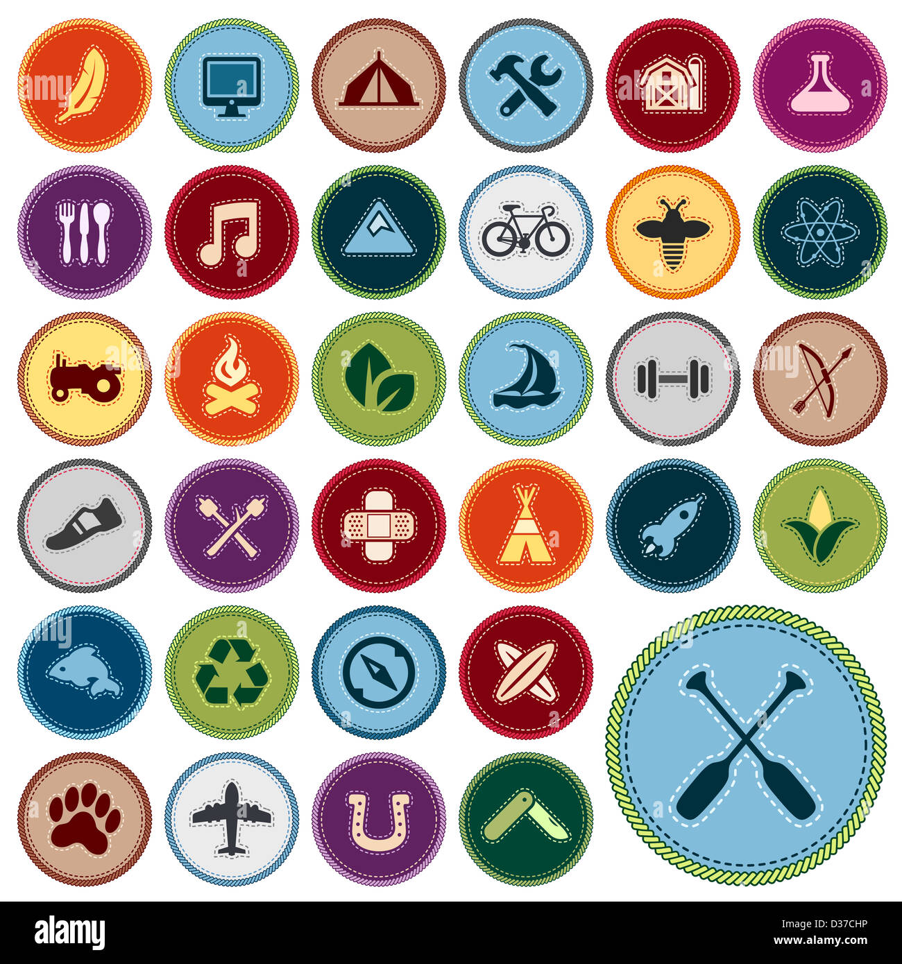Set of scout merit badges for outdoor and academic activities - Stock Image