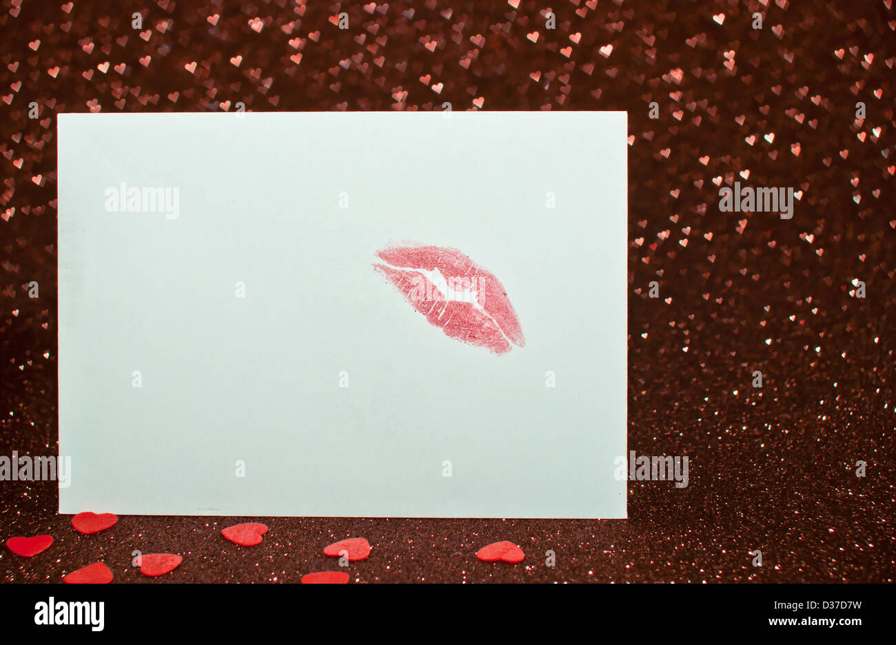 Invitation, Shape, Red, Horizontal, Expressing Positivity, Human Lips, Human Mouth, Gift, Sign, Cosmetics, February, - Stock Image