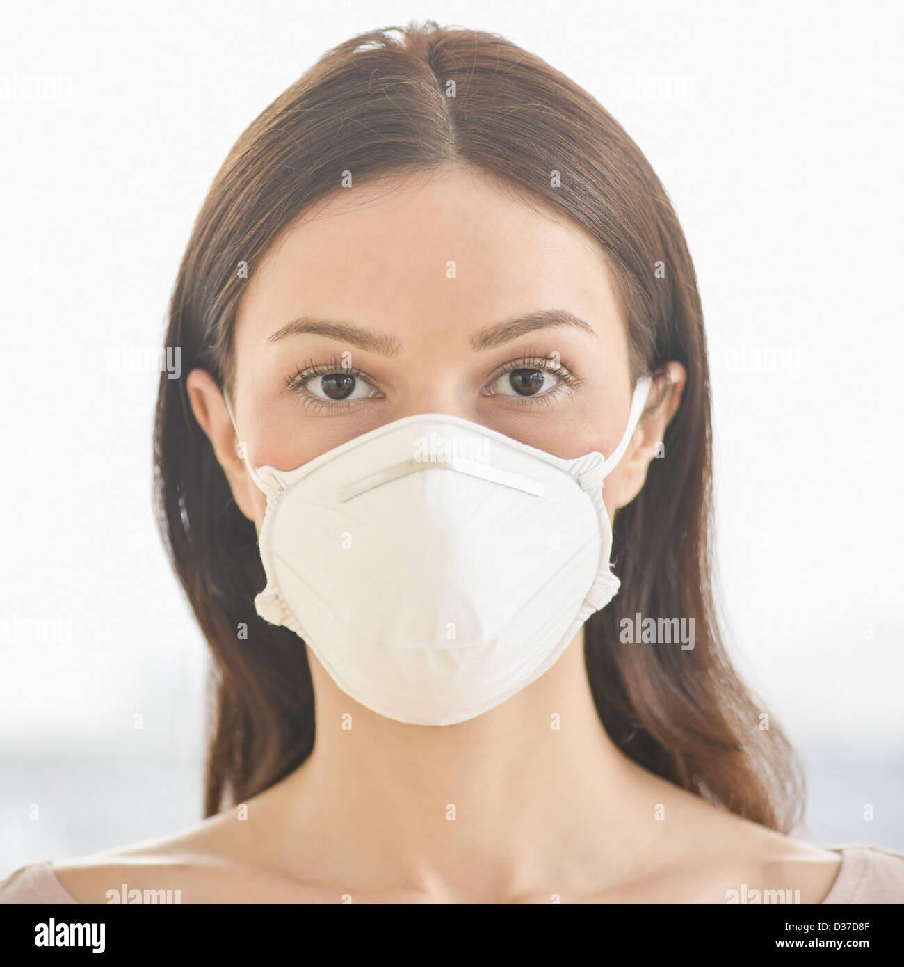 Of Mask Wearing Flu Stock Photo Studio Portrait Woman 53639167