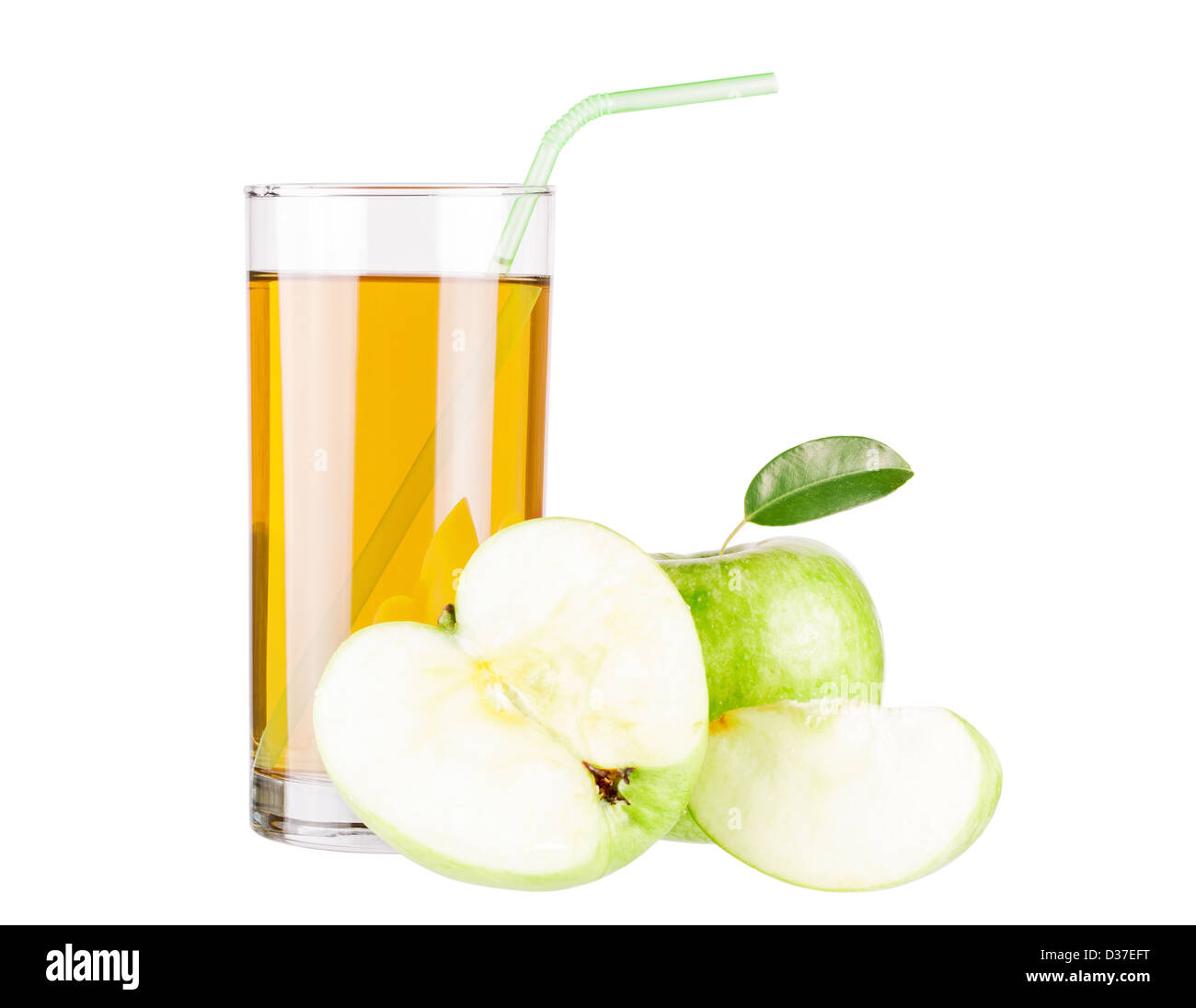 Apple juice and green apple isolated on white - Stock Image