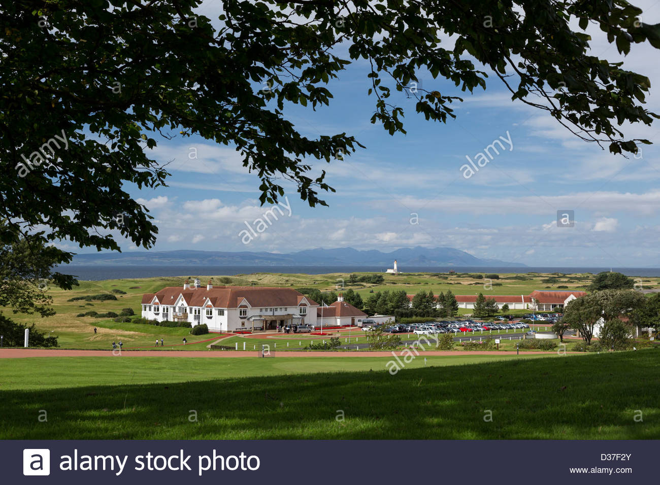 Looking from the Turnberry Hotel and Golf Resort to the Turnberry Clubhouse and Golf Courses. - Stock Image