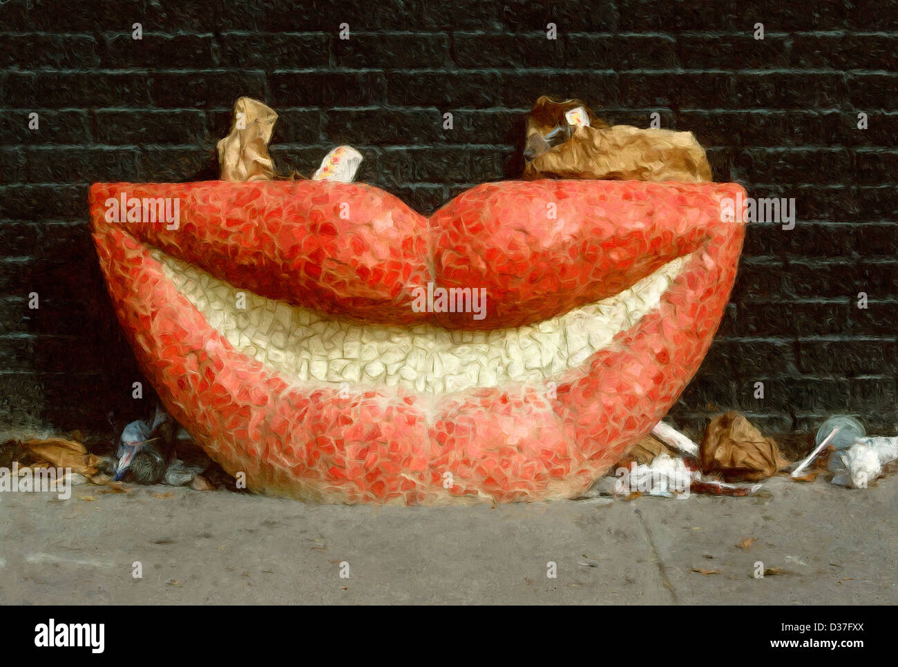 Realistic Painting Of Lips And Trash Hanging Out In An Alley Stock Photo Alamy