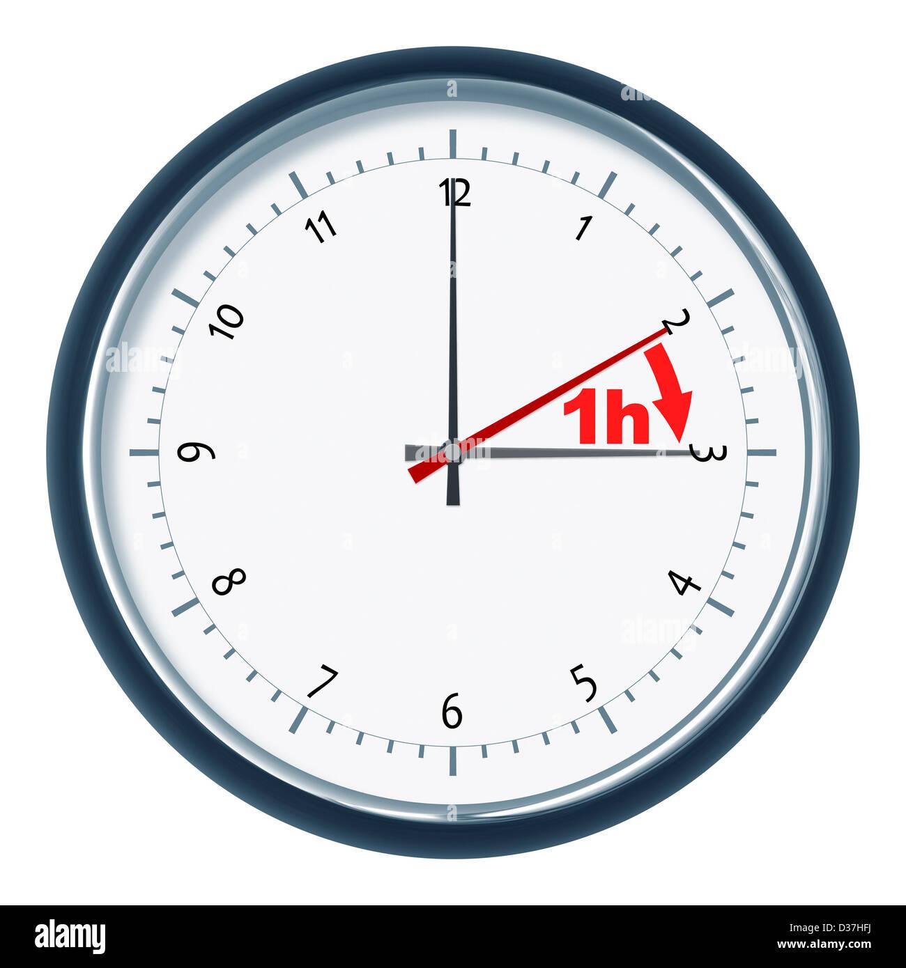 An image of a nice clock daylight saving time 1h - Stock Image