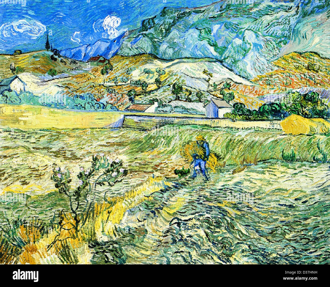 Vincent van Gogh, Enclosed Field with Peasant . 1889. Post-Impressionism. Oil on canvas. Indianapolis Museum of - Stock Image