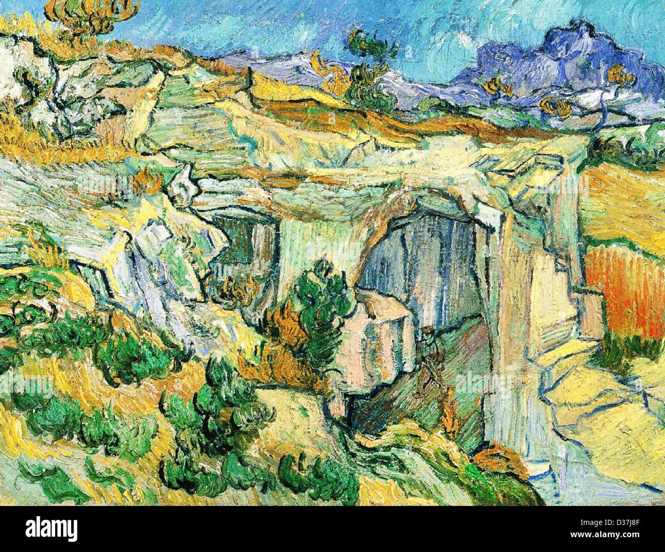Vincent van Gogh, Entrance to a Quarry near Saint Remy. 1889. Post-Impressionism. Oil on canvas. - Stock Image