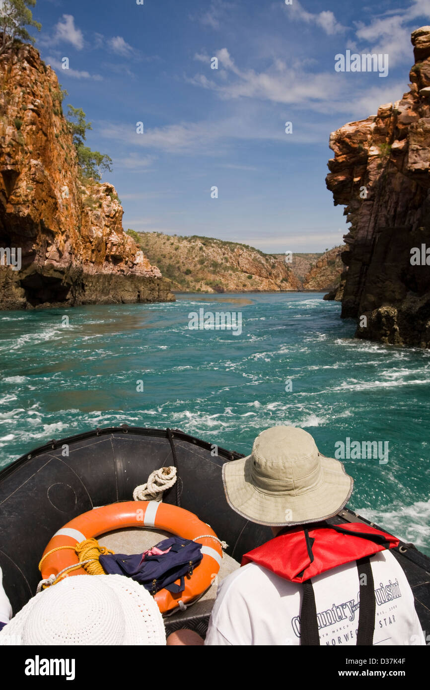 Zodiacs from the Aussie expedition cruiser Orion approach the famous Horizontal Waterfalls of Talbot Bay, Kimberley - Stock Image