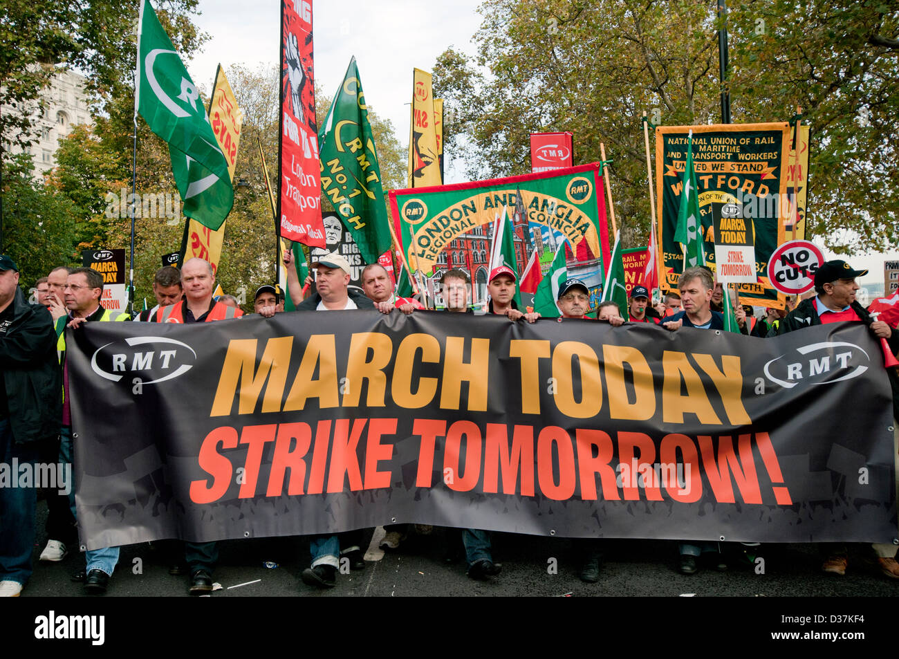 National Union of rail Maritime workers marching through central London  on 20.10.12 - Stock Image
