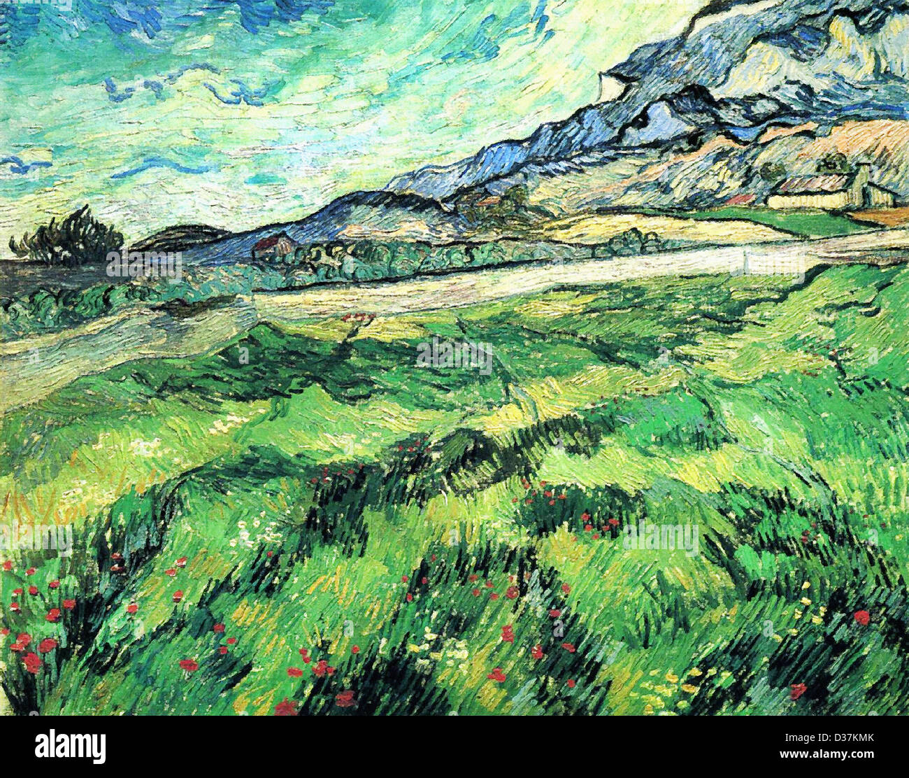 Vincent van Gogh, The Green Wheatfield behind the Asylum. 1889. Post-Impressionism. Oil on canvas. - Stock Image