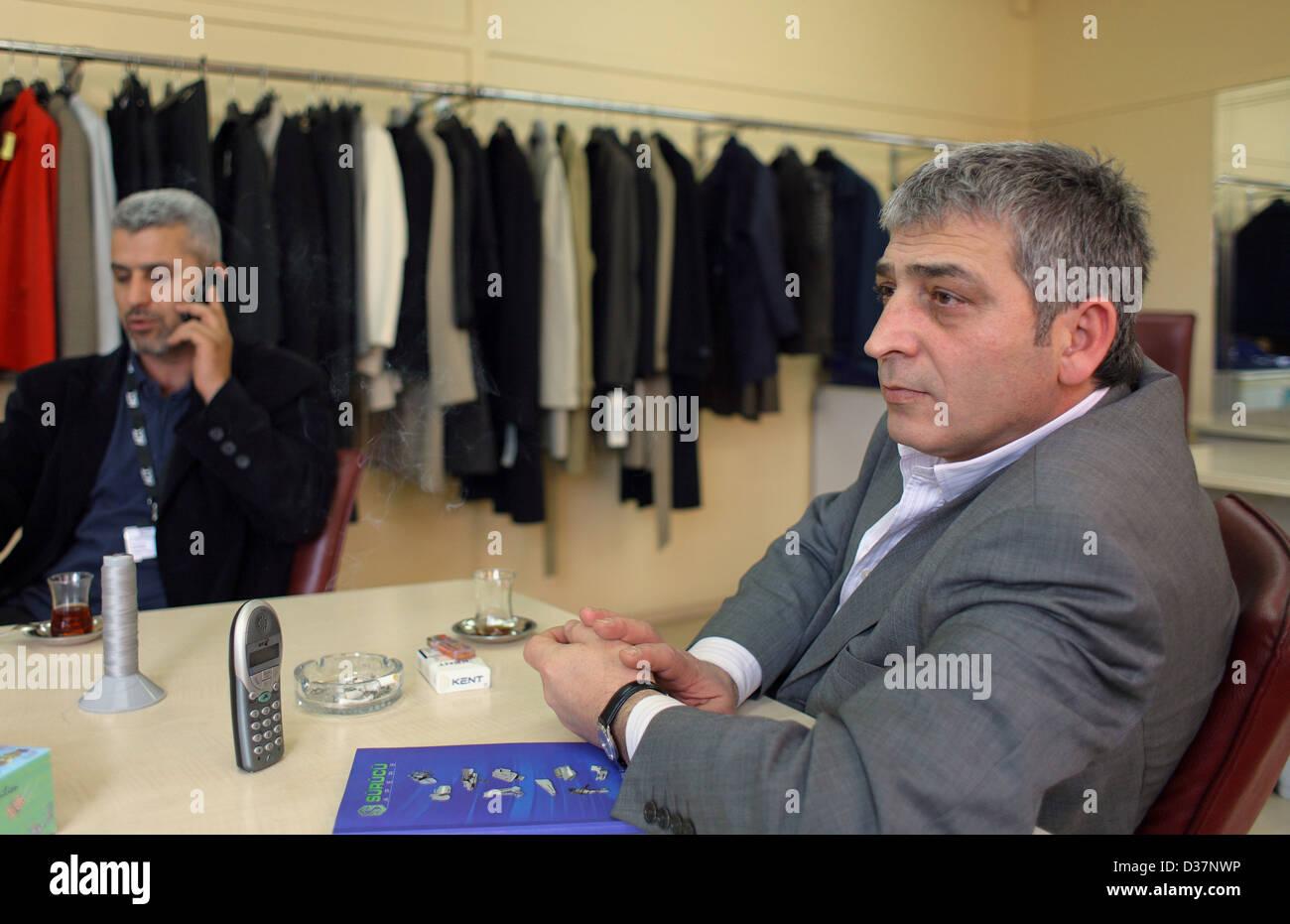 Istanbul, Turkey, Erdogan Alkan, owner of a textile factory Pano Giyim San Magazacilik - Stock Image