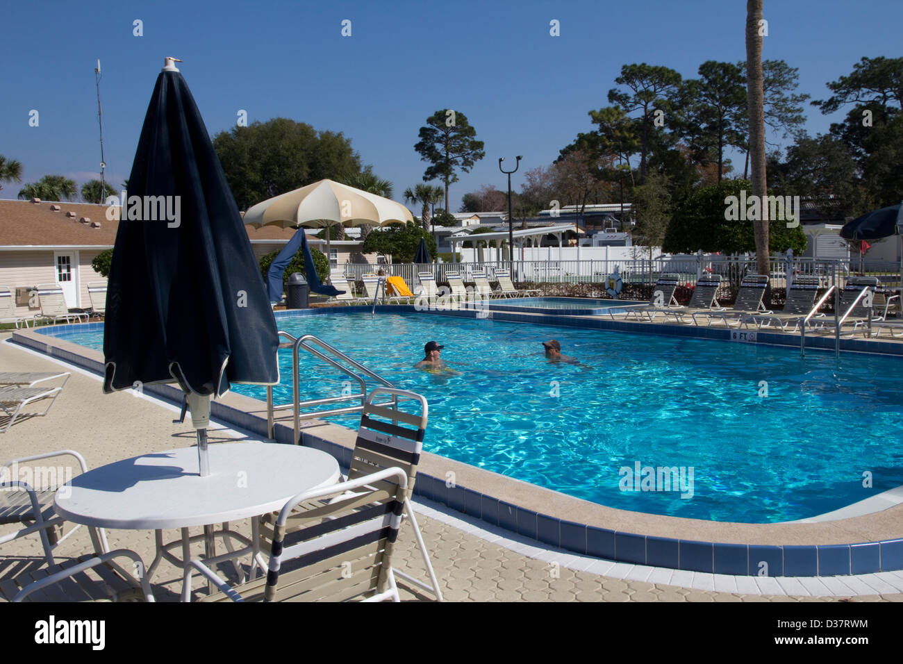 Pool area at Orange City RV Resort, just a short distance from DeLeon Springs State Park, FL. - Stock Image