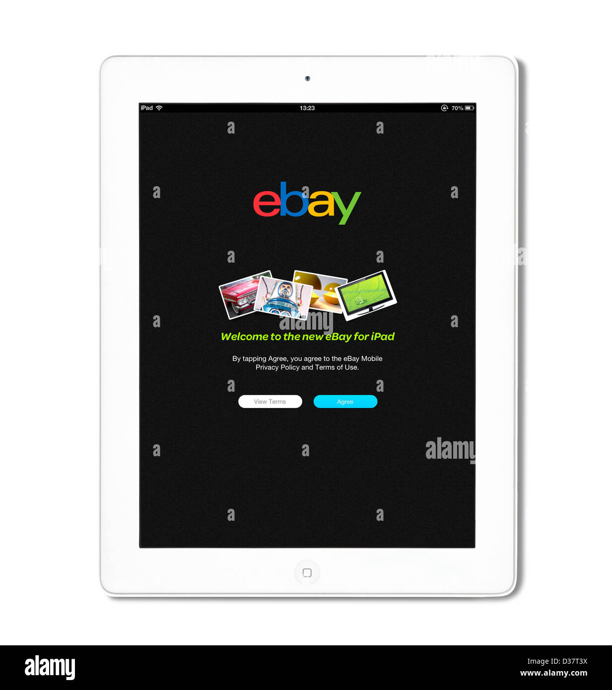 The ebay app on a 4th generation Apple iPad tablet computer - Stock Image