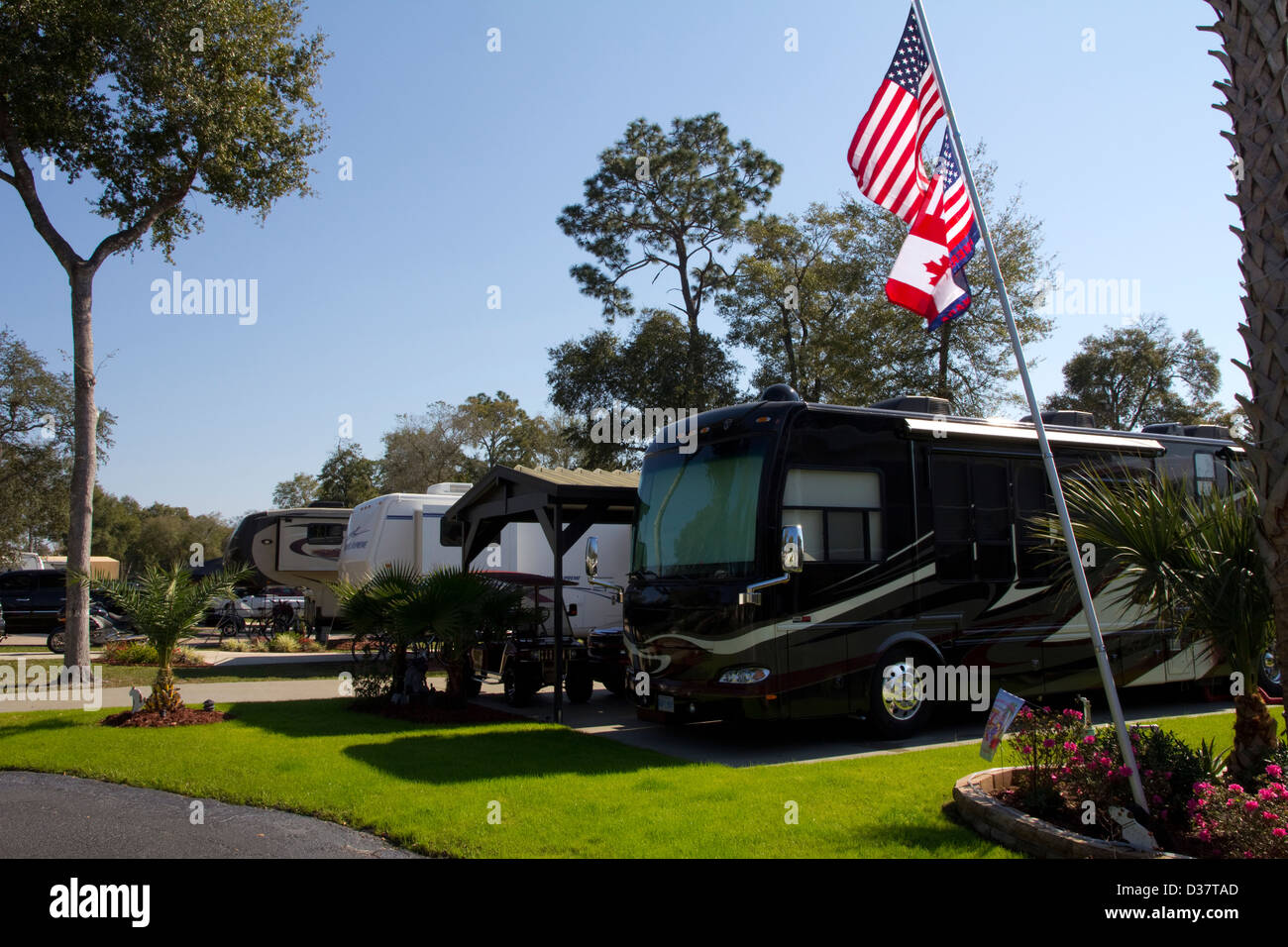 Orange City RV Resort offers luxury-level camping just a short distance from DeLeon Springs State Park, FL - Stock Image