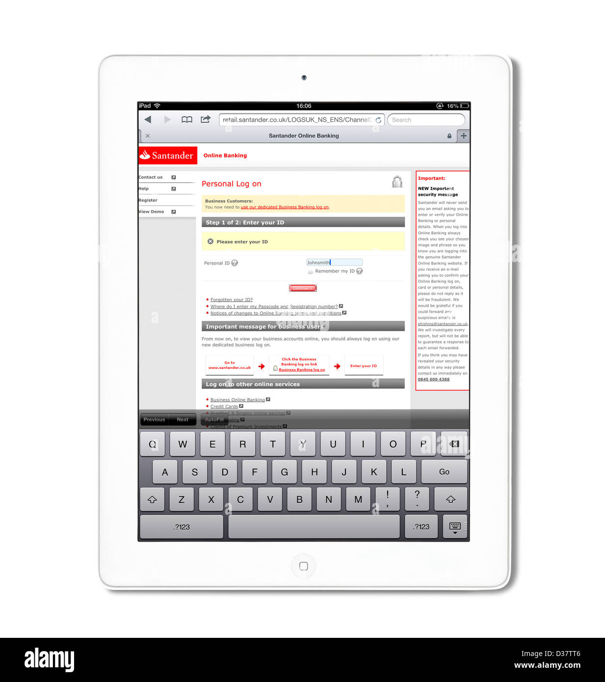 Santander online banking on a 4th generation Apple iPad tablet computer - Stock Image