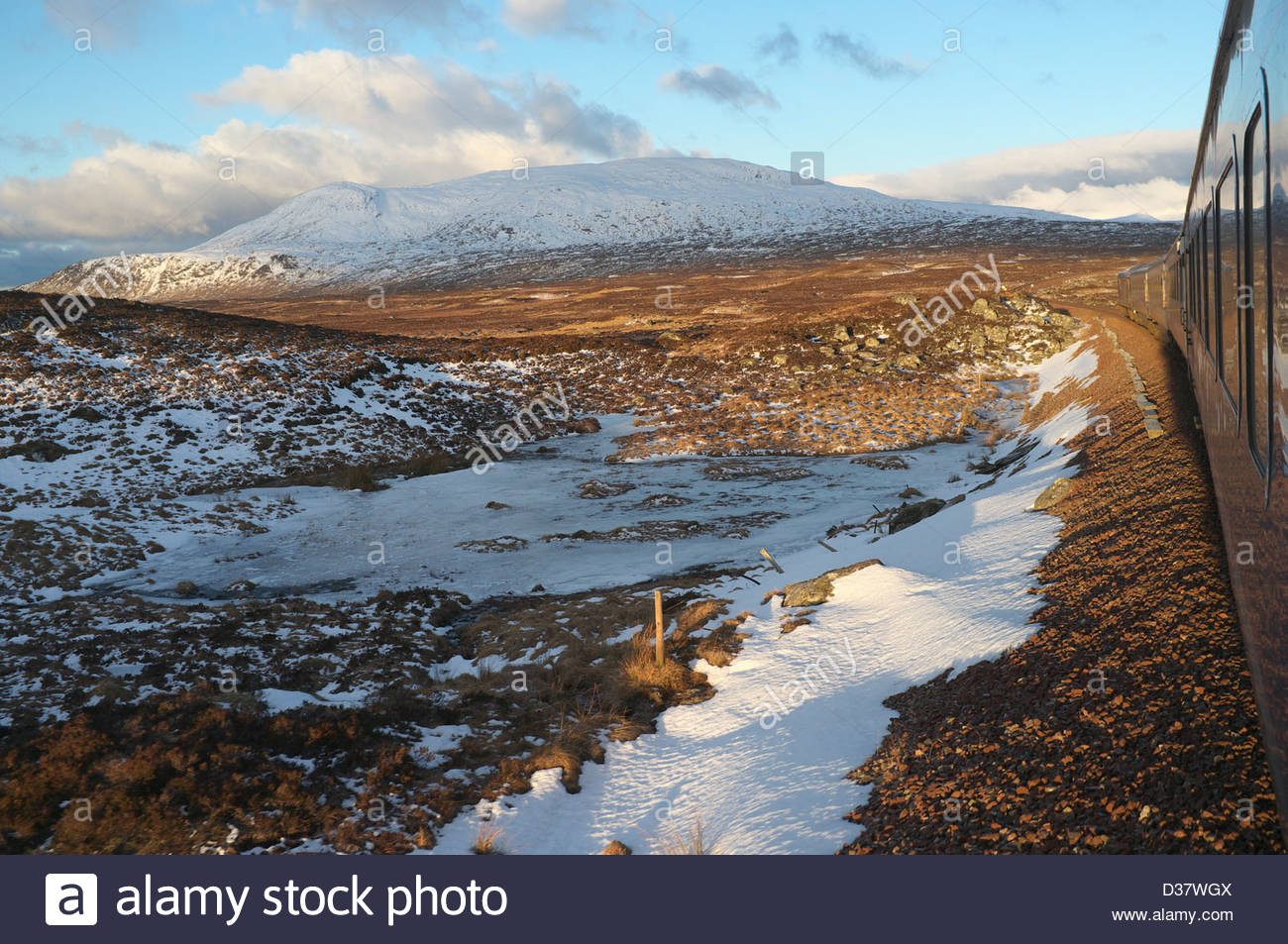 The Caledonian Sleeper Service From London To Fort William Travels Across Rannoch Moor On West Highland Line Scotland UK