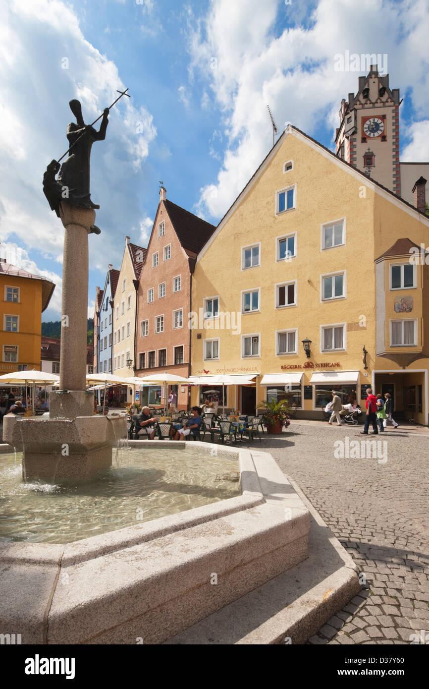 Fountain in Füssen, Ostallgäu, Bavaria, Germany - Stock Image