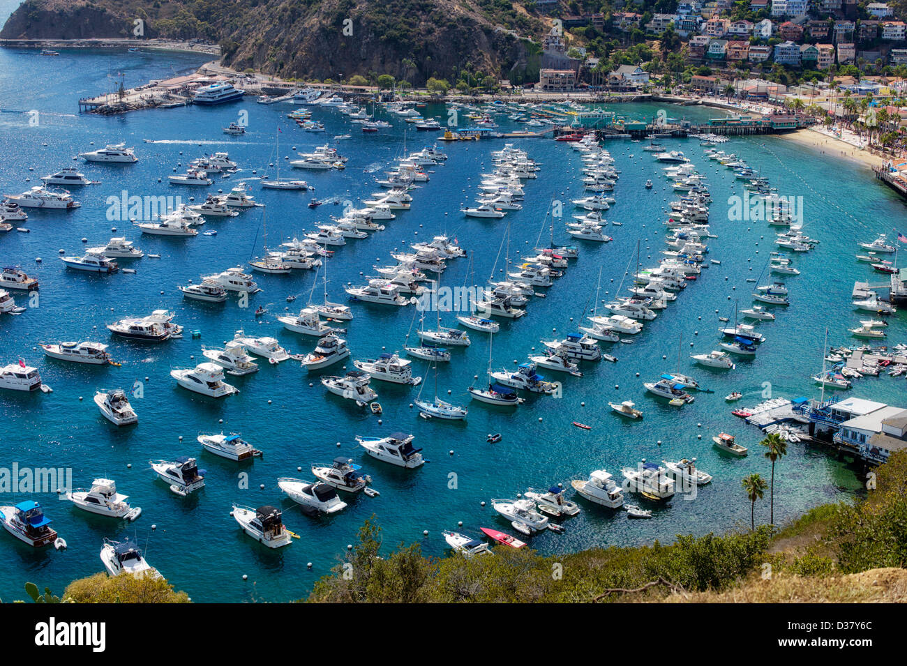 Boats in Catalina Harbor. Catalina Island, California - Stock Image