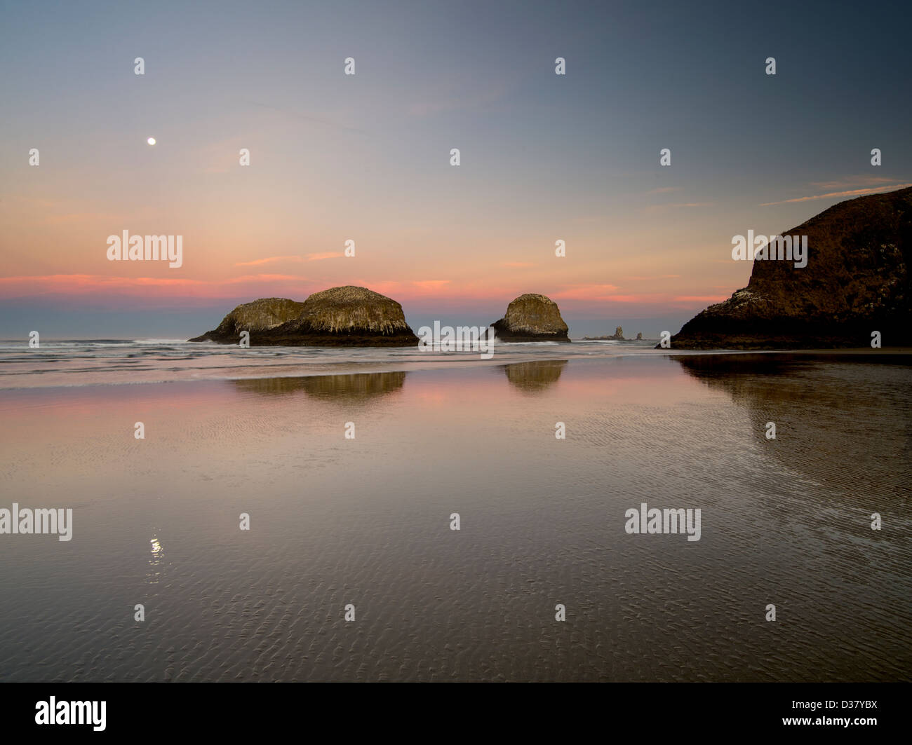 Moonset over Cannon Beach at low tide. Oregon - Stock Image