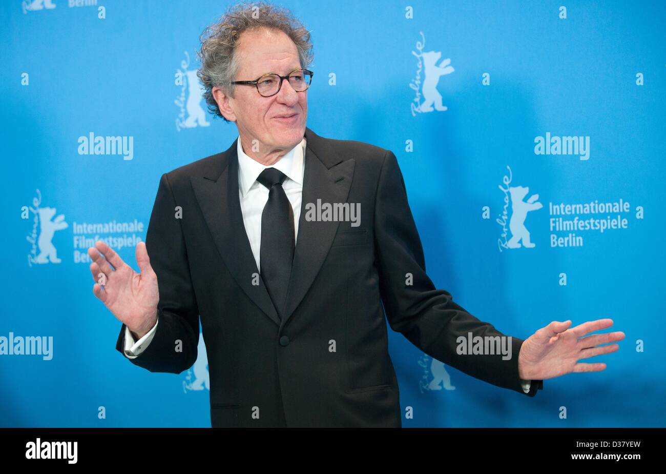 Australian actor and film producer Geoffrey Rush poses at a photocall for the movie 'The Best Offer' during - Stock Image