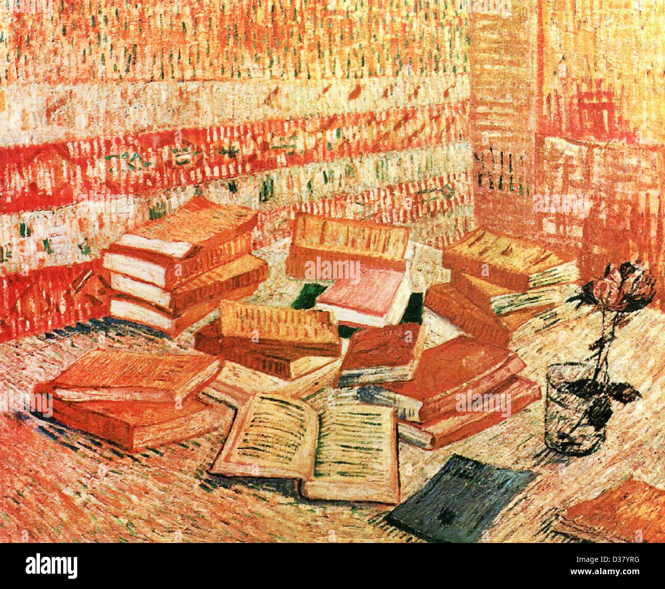 Vincent van Gogh, Still Life - French Novels and Rose. 1888. Post-Impressionism. Oil on canvas. Place of Creation: - Stock Image