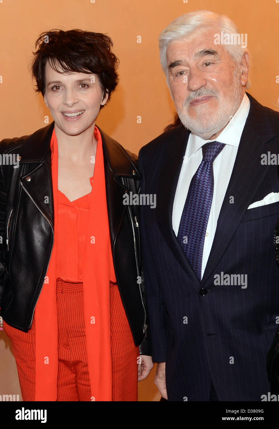 French actress Juliette Binoche and German actor Mario Adorf attend the reception 'Soiree francaise du cinema' - Stock Image