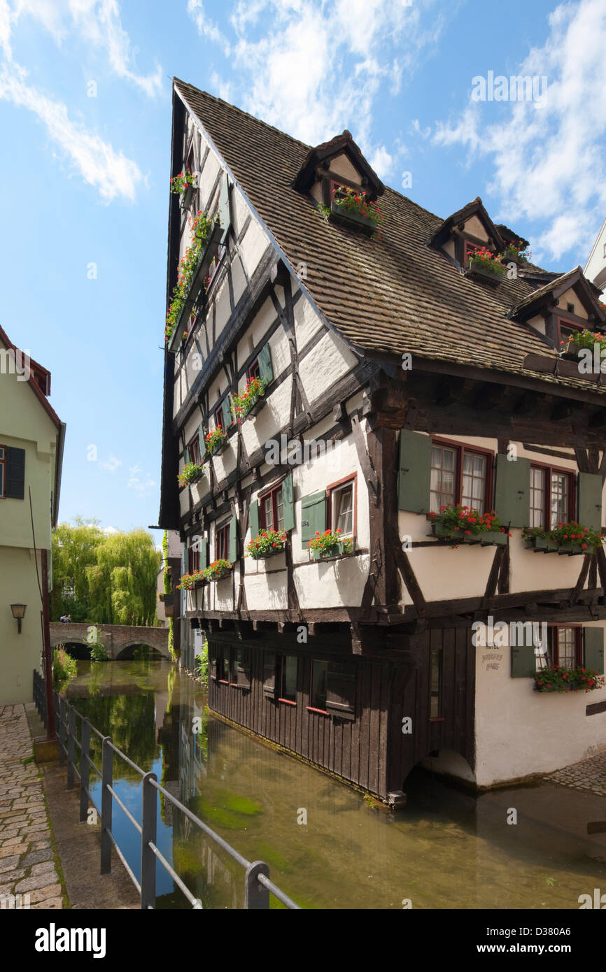 Schiefes Haus, Ulm, Baden-Württemberg, Germany - Stock Image