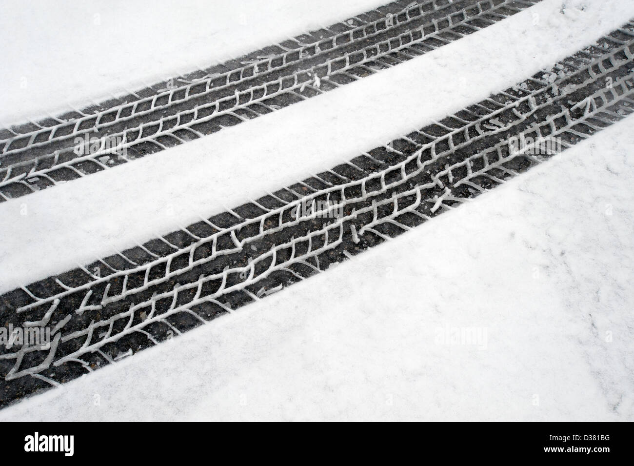 Winter tire tracks (marks) in the snow - Stock Image