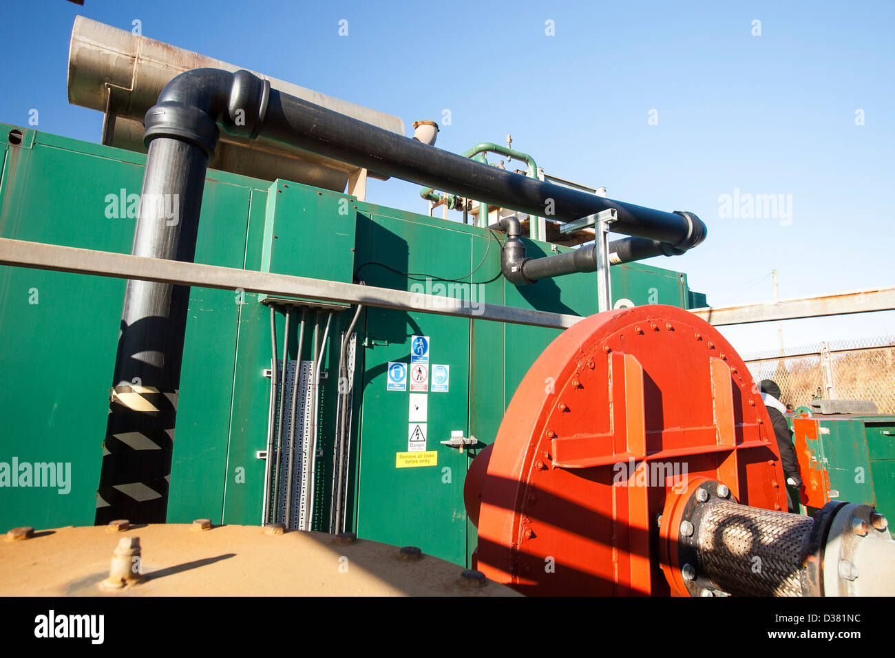 A Methane biogas generator producing green electricity, from biogas extracted from an old landfill site on Walney - Stock Image