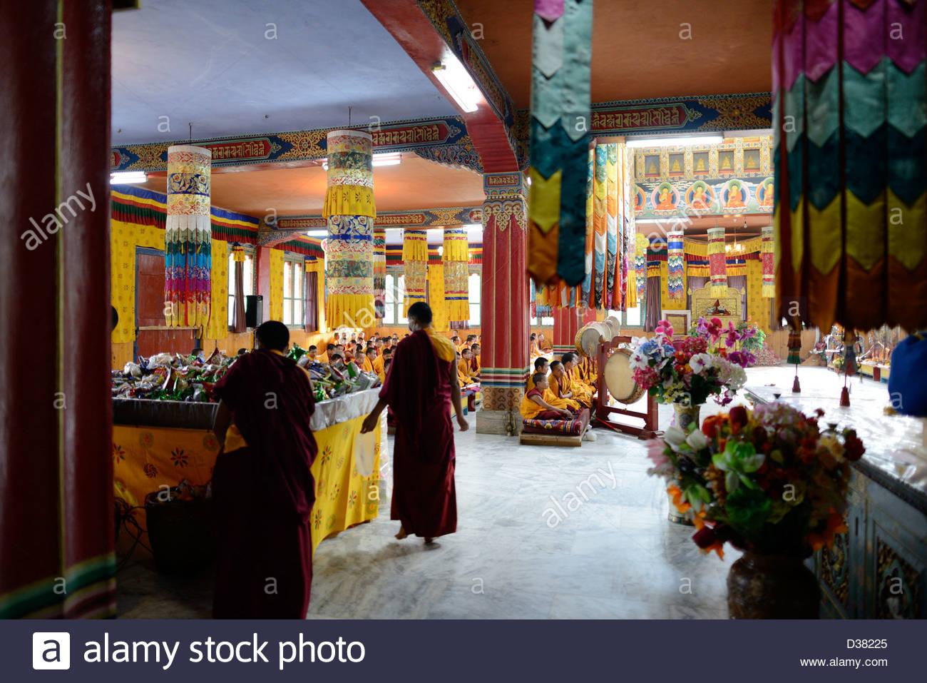 Monks on last day of nine days of prayers/chants for world peace,Namke Nyingpo Goemba a monastery in jakar,Bumthang,Bhutan,36MPX - Stock Image