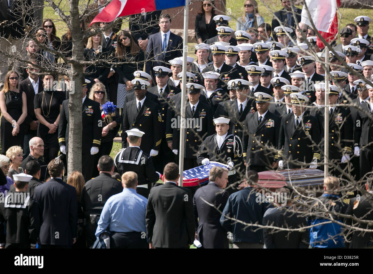 Members of U S  Navy SEAL Team Ten stand at attention during