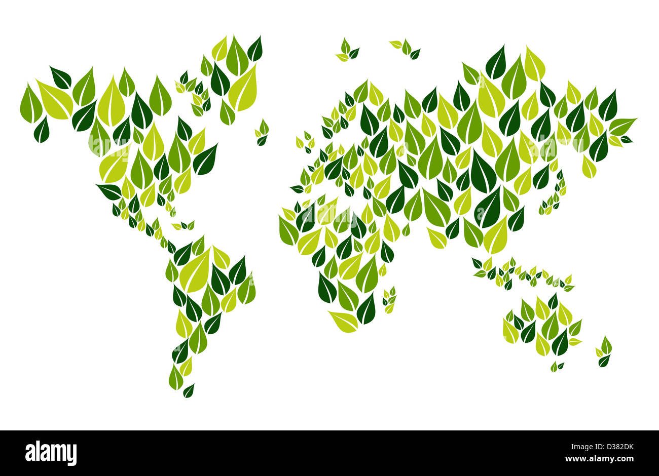 Green leaves in world map shape isolated over white  Vector file