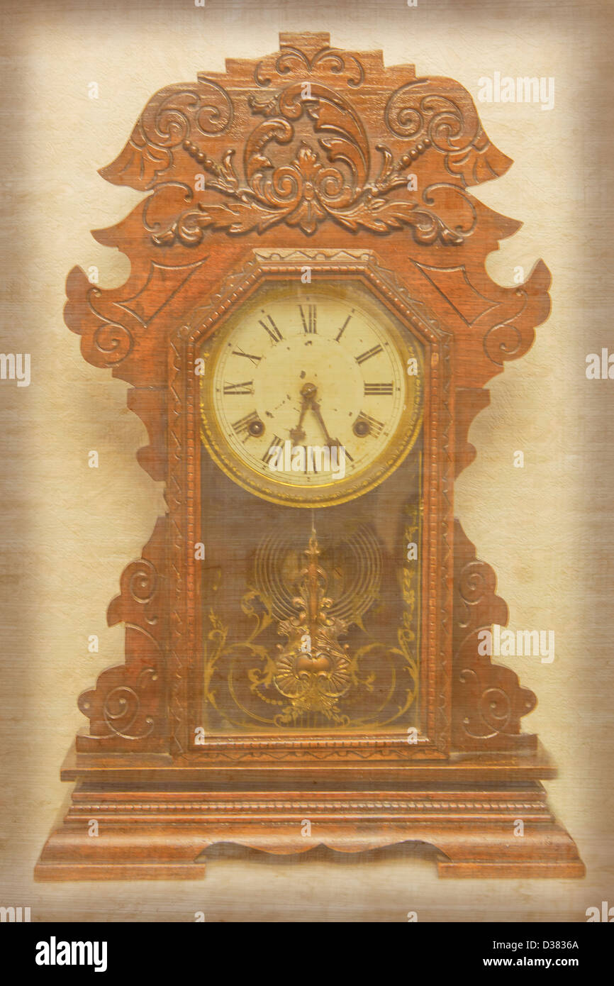 Image of an old mantel clock with paper texture on it. - Stock Image