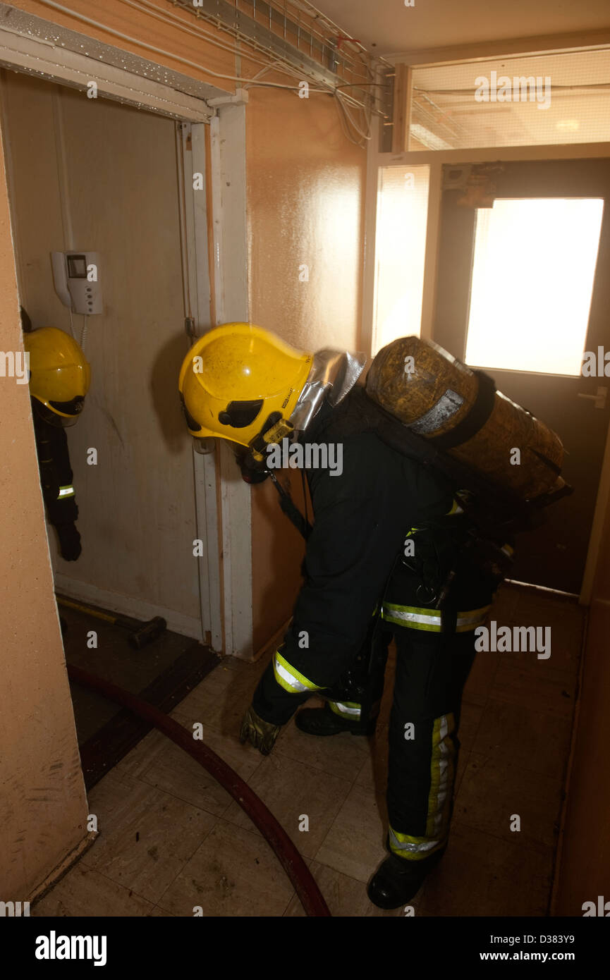 Firefighters in BA at high rise flat fire - Stock Image