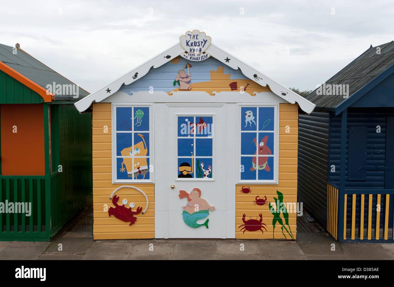 Beach Hut, North Promenade, Sutton on Sea, Lincolnshire, England, UK - Stock Image
