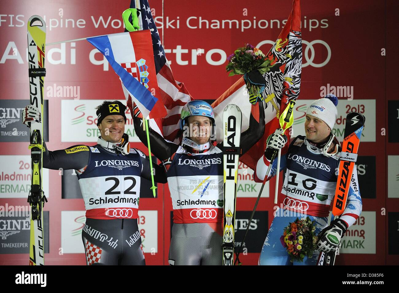 Schladming, Austria. 11th February 2013. (L-R) Ivica Kostelic (CRO), Ted Ligety (USA), Romed Baumann (AUT), FEBRUARY Stock Photo